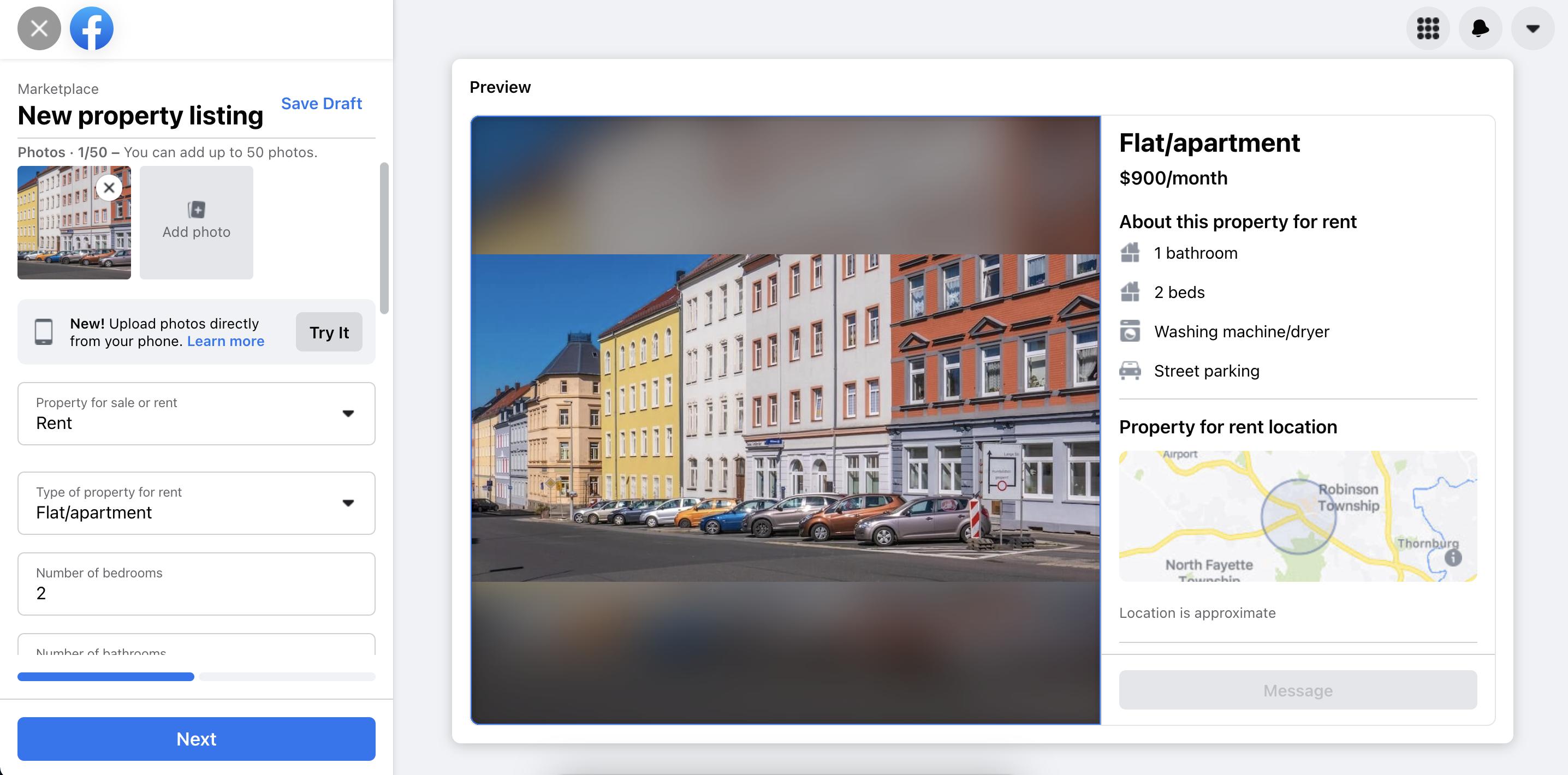 create facebok rentals ad